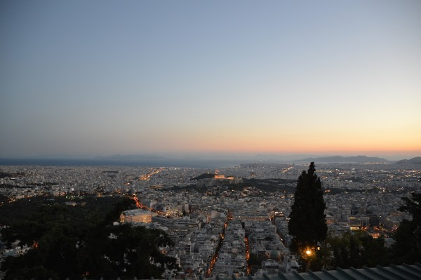View of Athens from Mt. Lycabettus at dusk. Photo Credit: Tasha Birdwell